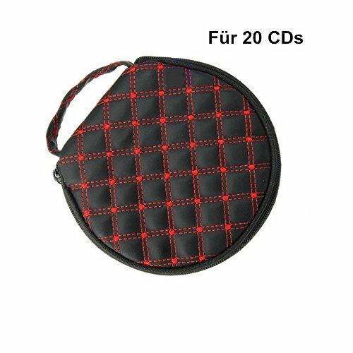 MUROAD Auto CD DVD Tasche Tragetasche, CD Discs Halter Tasche Speicher Beutel für 20 CDs Aufbewahrung DVD Mappe Etui Ordner CD Wallet Case (Rot)