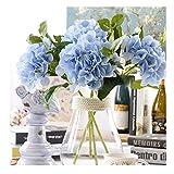 Famibay Ortensia Artificiale Azzurra 3 Pezzi Seta Ortensia Finta per Matrimonio San Valentino(Blu)
