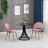 OFCASA set di sedie per sala da pranzo composto da 2 morbide sedili in velluto e schienale in legno robusto, con gambe in metallo, per sala da pranzo, salotto, ufficio, mobili moderni, sedie per hotel