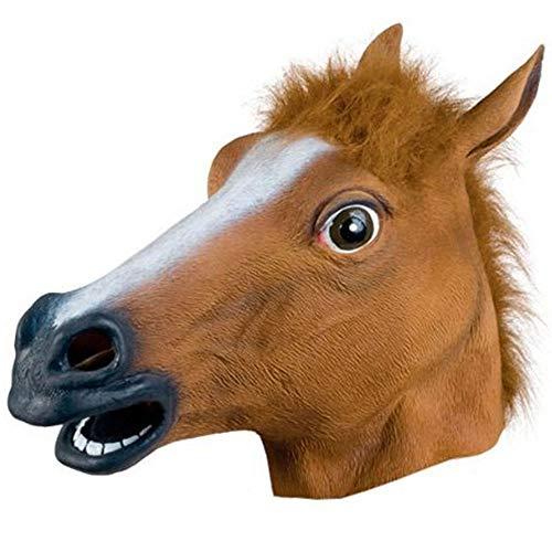 Fliyeong Kreative Latexmaske Pferd Form Kopf Maske Lustige Halloween Tiermasken für Party Halloween Cosplay Verwenden 1 Stücke