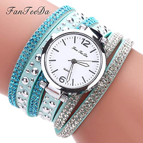 VECOLE Damen Uhren Mode Lässig Strass Inlay Arabisch Digital Dial Wrapping Armbanduhr Uhren Geschenk für Frauen Quarz Analog Display Uhr(Mehrfarbig-3) (Wrapping Silber Band)