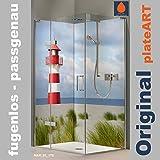 ORIGINAL plateART Eck-Duschrückwand, Wandverkleidung, Wandbild, Rückwand Alu-Dibond OHNE FUGEN, Fliesenersatz, Nordsee-Motiv Leuchtturm Maritim-Kollektion