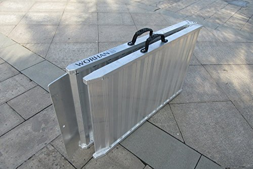 WORHAN Rampe de Chargement 400kg Robuste Rigidité Extrême Pliable Valise Alu Fauteuil Roulant Scooter Plate-Forme Ultra Antidérapante HR7