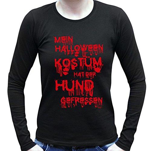Cooles Damen Halloween-Langarm-Fun-Shirt als Geschenke-Idee Motiv: Mein Halloween Kostüm hat der Hund gefressen Farbe: schwarz Gr: XL