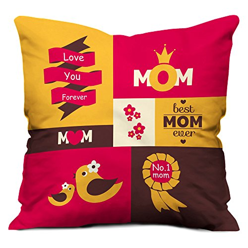 indibni No. 1 Mom Cushion (12x12 inch) with Filler - Multicolor (Artistic Colorful Gift for Mom Mother on Her Birthday Anniversary Mothers Day)