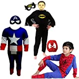 Combo Offer Captain America + Batman + Spiderman Costume Fancy Dress | Fancy Dress Costume Costume | Cosplay Carnival Costumes For Children | Fancy Dress Competition | B'day Party | Birthday Gift | B'day Gift | Baby Show | Halloween Costume | Kindergarden