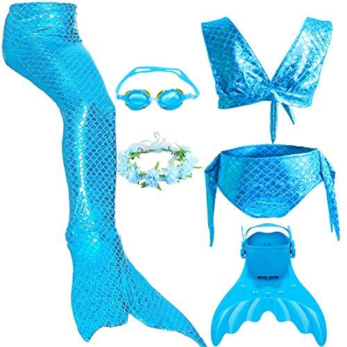 Meerjungfrau Schwanz mit Monofin Kinder Cosplay Badeanzug Kostüm, Mädchen Princess Bikini Set mit Schwimmbrille & Kranz & Schwimmflossen Trainingsflossen (XXL 141-150cm, JP19)