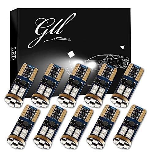 Grandview 10pcs T10 W5W LED Canbus Super Bleu Vif 194 168 3030 12-SMD Erreur LED Voiture Intérieur,Tableau de Bord,Plaque d'immatriculation,Feux de Position Latéraux(9V-16V)