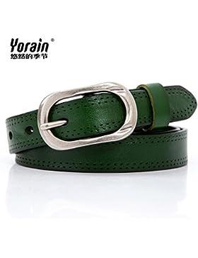 SILIU*Los pasadores del cinturón de cuero elegante Sra. tie-ups grabado artes capa finial cinturón de cuero, pantalones...