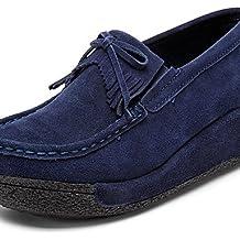 ZQ Zapatos de mujer - Tacón Cuña - Cuñas / Plataforma / Creepers - Mocasines - Exterior / Oficina y Trabajo / Casual - Ante -Negro / Azul / , yellow-us8 / eu39 / uk6 / cn39 , yellow-us8 / eu39 / uk6 / cn39