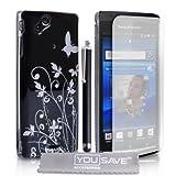 Yousave Accessories® SE-HA01-Z050 - Set cover + pellicola per protezione schermo + panno pulente in microfibra, per Sony Ericsson Xperia Arc X12, colore: Nero/Argento