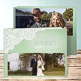 Fotoalbum Hochzeit, Pastellspitze 28 Seiten, 14 Blatt, Hardcover 290x222 mm personalisierbar, Grün