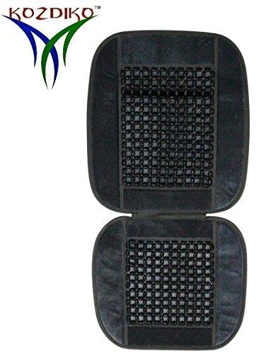 Kozdiko Car Seat Car Wooden Bead Seat Cover Cushion with Grey Velvet Border for Mahindra Kuv 100