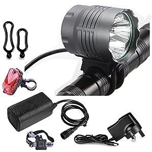 Booye luces de bicicleta CREE XML T6LED MTB bicicleta de montaña faros delanteros de luz linterna frontal resistente al agua Linterna Batería 8,4V 18650recargable (8000mAh, 5200Lúmenes