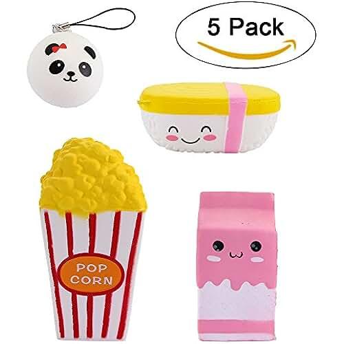 juguetes kawaii 4 PC Jumbo Squishies Popcorn Cup / Pink Milk Box Dibujos animados / alimentos arroz / mini panda charm Slow Rising Squishies Juguetes perfumados Kawaii Squishy Decoration juguetes para niños y adultos (conjunto de palomitas de maíz)