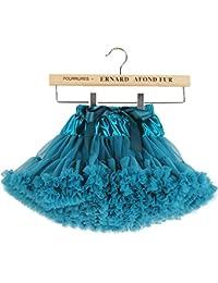Falda plisada hinchada del tutú de las niñas de Tulle para los bebés 5-7 años / M, verde de la malaquita