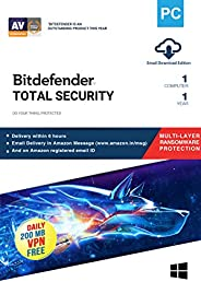 BitDefender Total Security Latest Version with Ransomware Protection (Windows) - 1 User, 1 Year (Email Deliver