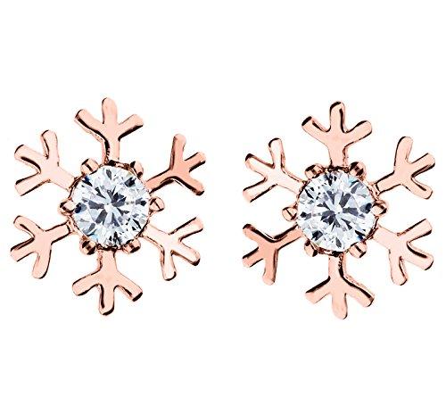 MYA art Ohrstecker Ohrringe Schneeflocke mit Swarovski Elements Kristall Stein in Rosegold Vergoldet Damen Kinder Rose Gold MYARGOHR-2