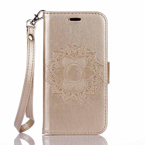iPhone 8 Plus Custodia,COOSTOREEU Mandala Embossing Premium PU Custodia in Pelle Card Slot Magnetica Portafoglio Flip per iPhone 8 Plus,Porpora Dorato