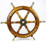 Welcome Aboard Embedded Premium Handcrafted Nautical Pirates Wall Decor Ship Wheel | Nagina International (16 Inches, Br