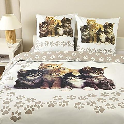 Parure housse de couette FLANELLE 100% coton - Sweet Dreams 260x240 cm + 2 taies d'oreiller 65x65 cm
