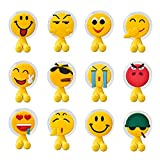 Toothbrush Holders Wall Mounted, Novelty Emoji Suction Cup Toothbrush holder for Mirror/Shower, Bathroom Emoji Accessories & Office Cable Holder, Set of 12