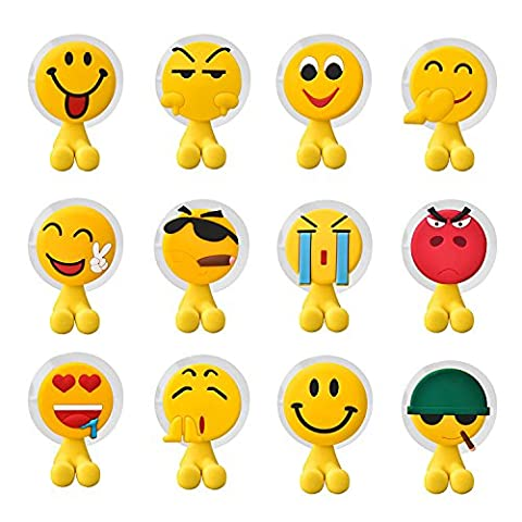 Toothbrush Holders Wall Mounted, Novelty Emoji Suction Cup Toothbrush holder for Mirror/Shower, Bathroom Emoji Accessories & Office Cable Holder, Set of