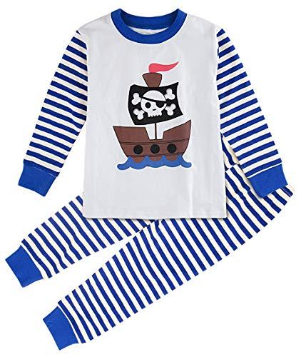Mombebe Junge Schlafanzug Kinder Winter Pirat Pyjama Set Langarm Nachtwäsche (5 Jahre/140, Pirat)