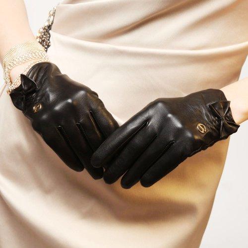 ELMA Gants en Cuir Nappa souple - Doublure Soie avec Nœud en Cuir - Logo plaqué Or Noir