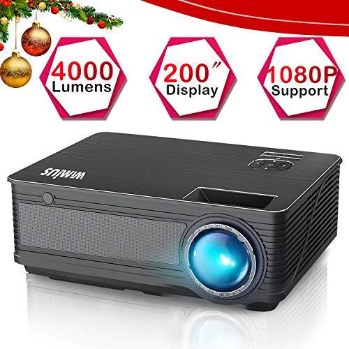 """WiMiUS P18 (Negro) 4000 Lúmenes 5.8"""" LCD Proyector de Video con 200"""" Pantalla, Soporta Full HD 1080P, Contraste 4000:1, 50000 Horas, con el Interfaz HDMI/ USB/ VGA/ AV/ TF Negro"""