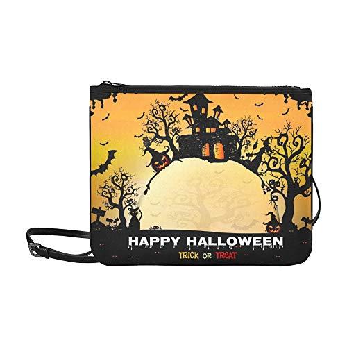 WYYWCY Halloween Night Creepy Castle Pumpkins Benutzerdefinierte hochwertige Nylon Slim Clutch Cross Body Bag Schultertasche (Halloween-gesichter Kürbisse Für Beängstigend)
