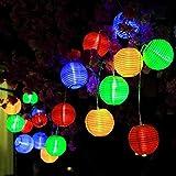 Farolillos Solares Exterior de Luces de Cuerda, ALED LIGHT RGBY 20 LED Impermeable Guirnalda Exterior LED Linternas Farolillos Decorativos Solares para Decoración Jardines(Rojo/Verde/Azul/Amarillo)