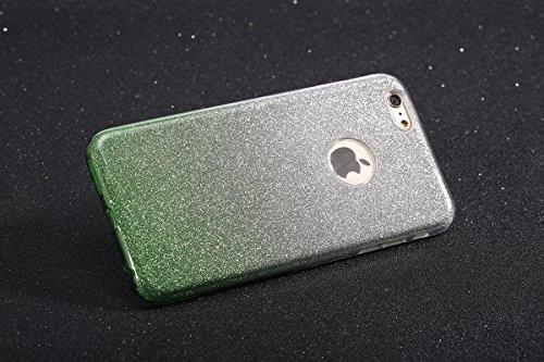 JAWSEU Coque Étui pour iPhone 6/6S 4.7 Ttansparent Ultra Mince TPU Portable Coque Avant et arrière 360 degrés de protection avec Brillant Bling Glitter Sparkle Pailletee,2017 Neuf Style Changement Gra vert/sparkle