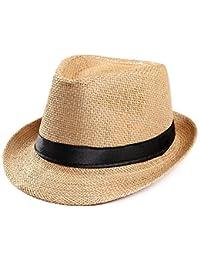 Overdose Sombrero Unisex Sombra Gorra de gángster Playa Sol Sombrero de  Paja Banda Sombrero para el Sol Playa Informal de Vacaciones… f651b472a04