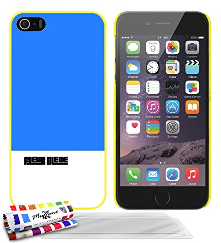 Coque rigide Ultra-Slim APPLE IPHONE 5S / IPHONE SE au motif exclusif [Fleur bleue] [Blanche] de MUZZANO + STYLET et CHIFFON MUZZANO® OFFERTS - La Protection Anti-rayure ULTIME, ELEGANTE ET DURABLE po Jaune + 3 Films de Protection Ecran