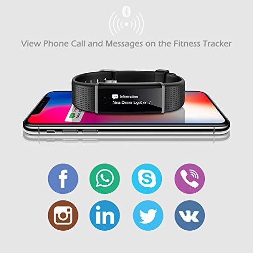 2c64e9044a6b Pulsera Actividad, CHEREEKI Pulsera Inteligente Pantalla Color Fitness  Tracker con Cardíaco Monitor Reloj Inteligente Brillo de la Pantalla  Ajustable ...