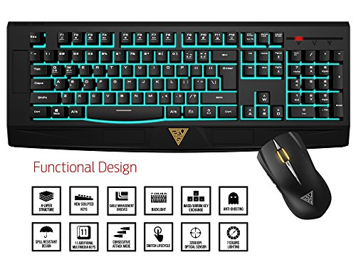 Gamdias GKC6001 Ares 7-Color Essential Membrane Gaming Keyboard and 3200DPI Optical Mouse Combo