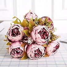 ROSENICE Ramo de flores de peonía Vintage de flores artificiales (goma de la haba)