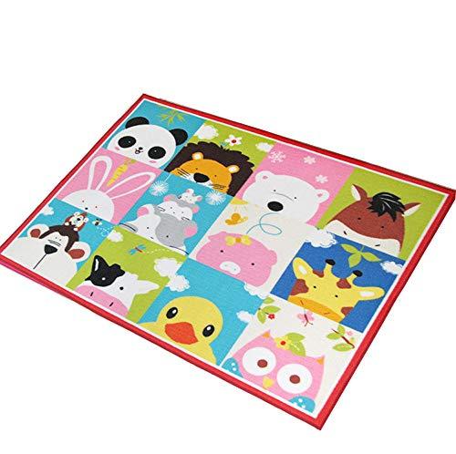 Kinder-Schlafzimmerteppich, Spielteppich, Zeltmatte, Lustige Erziehung, Weiches Rutschfestes, Cartoon-Tiermuster, 100 * 130cm Yingpai