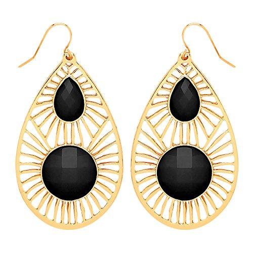 Front Row Damen-Ohrringe goldfarben mit schwarzem Stein