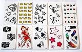 wolga-kreativ Tattoo Set 10 Bogen wie Hauptbild Stern Herz Schriftzug Blume Fisch Stern Krone Kamera Feder temporäre Tattoos (temporäre Transferfolie, hautfreundlich)