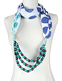 Vozaf Women's Viscose Stoles & Scarves - White With Blue Polka Dots And Beaded Necklace