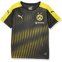 Chaquete de fútbol Puma para niños, del Borussia de Dortmund. , infantil, BVB Stadium Jersey with Sponsor Logo, puma black-Cyber yellow, 176