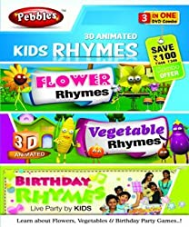 Pebbles 3D Kids Rhymes (Flo, Veg, Birthday) (DVD)