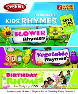Pebbles 3D Kids Rhymes (Flo, Veg, Birthday) (DVD)