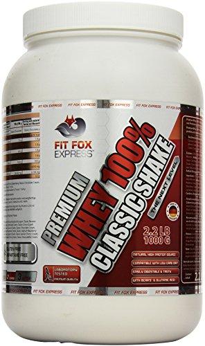 Whey Banana Cream Protein (Fit Fox Express Premium Whey 100% Protein (Eiweißshake, Molkenprotein mit Dosierlöffel) Classic Banana Cream, 1er Pack (1 x 1 kg), 1000 g Dose)
