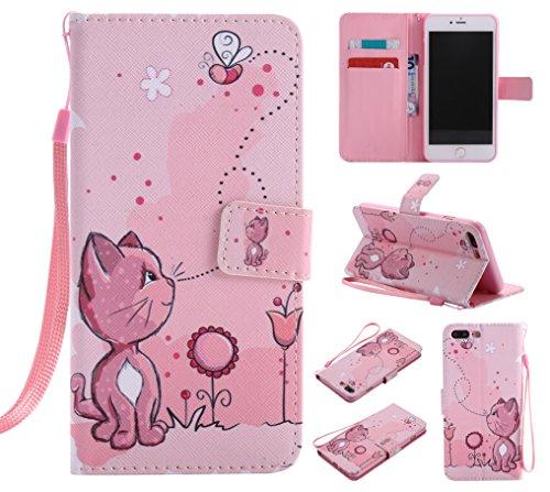 E-Lush Premium PU Leder Laserschneiden Schmetterling Muster Tasche für Apple iPhone 7/7S Plus(5,5 zoll) Einfach Einfarbig Muster Klapphülle 360 Full Body Protection Flip Case Wallet Cover Weiche Flexi Katze