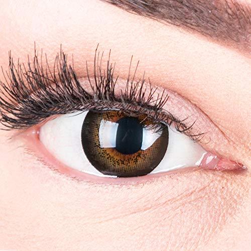 Farbige schwarze Kontaktlinsen 'Awesome Black' Ohne Stärke Schwarz + Kontaktlinsenflüssigkeit und Behälter von MERALENS, weiche 3-Monatslinsen als 2er Pack