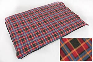 Deluxe Extra Large Waterproof Dog/pet Bed Red Check Fleece by Treeline Products