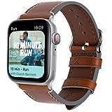 Fullmosa Correa de Piel Compatible con Apple Watch Series 4 en 4 Colores, Vintage Pulsera de Cuero Reemplazo de iWatch 40 mm/44 mm para Mujeres Hombres, Marrón Oscuro + Hebilla Plata 44mm